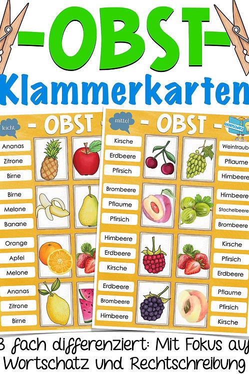 Klammerkarten Obst / Früchte Deutsch und Sachunterricht - Unterrichtsmaterial für die Grundschule