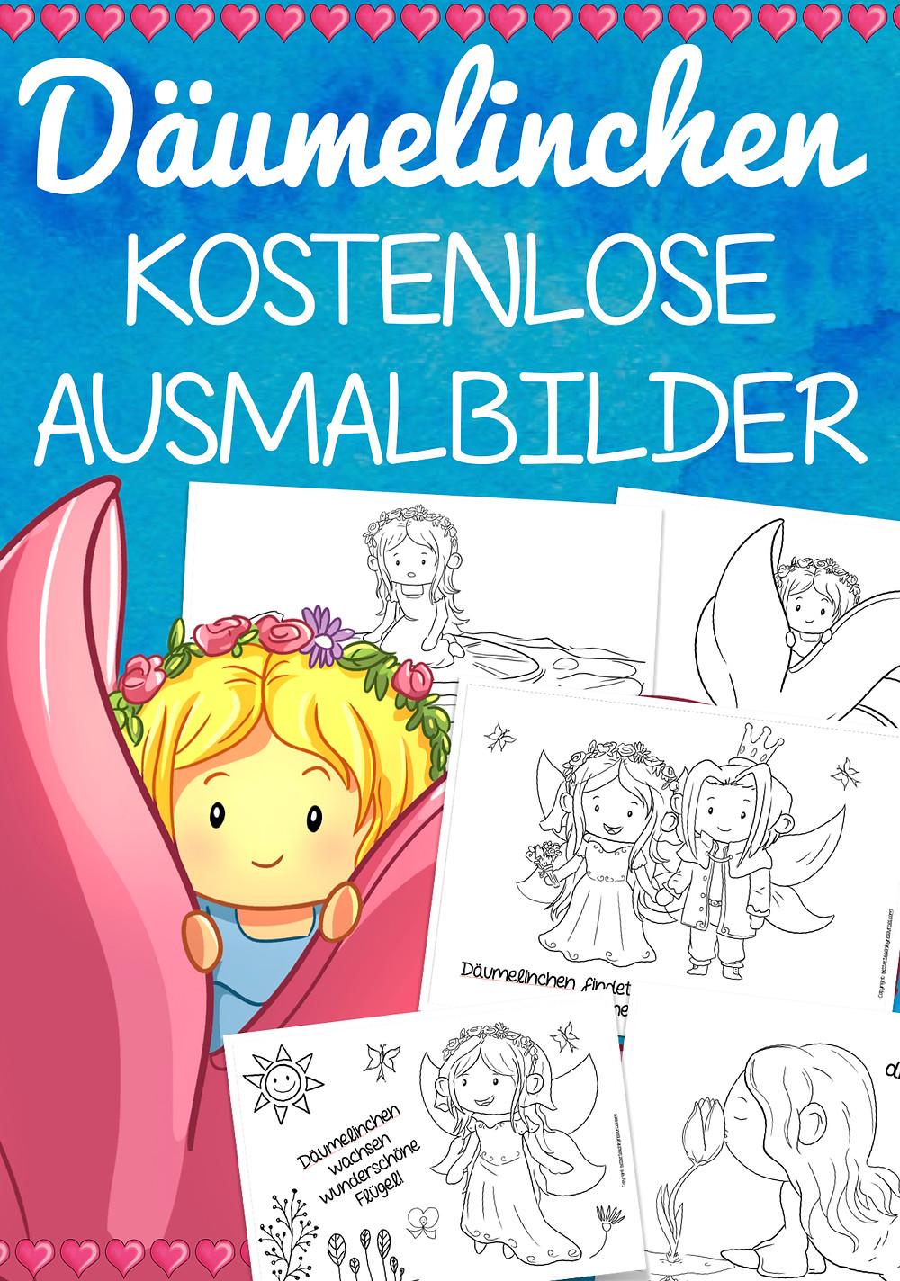 Däumelinchen - Märchen Malvorlagen für die Grundschule und Kita kostenlos
