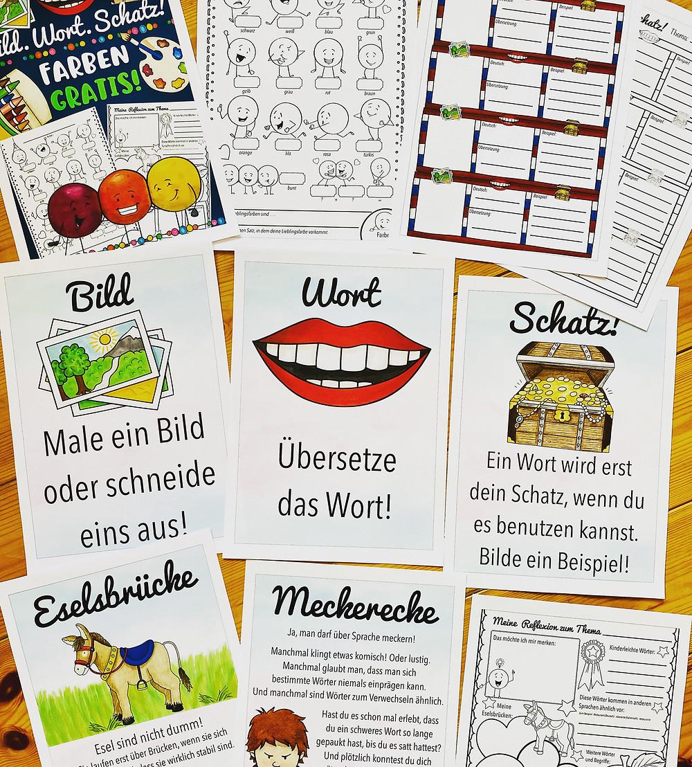 Kostenlos Bildwörterbuch für die Grundschule Englisch - Farben / colours