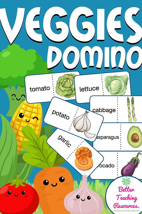 Vegetables Domino Englisch Spiel für die Grundschule