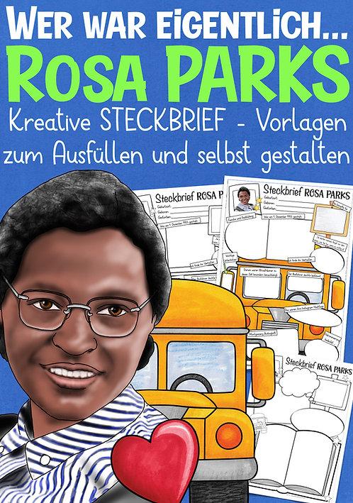 Rosa Parks Steckbrief für die Grundschule - kreatives Arbeitsblatt zum Thema Rassismus / Diskriminierung USA