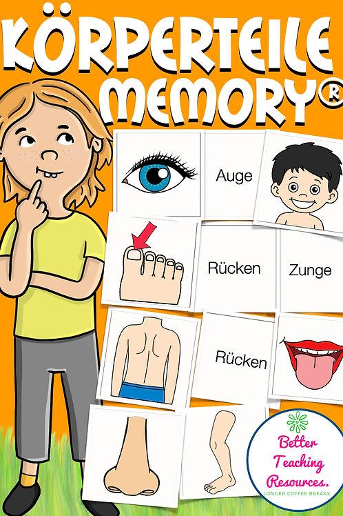 Memory Spiel für den Deutschunterricht und DAZ sowie Sachunterricht in der Grundschule - Thema: Mein Körper / Körperteile