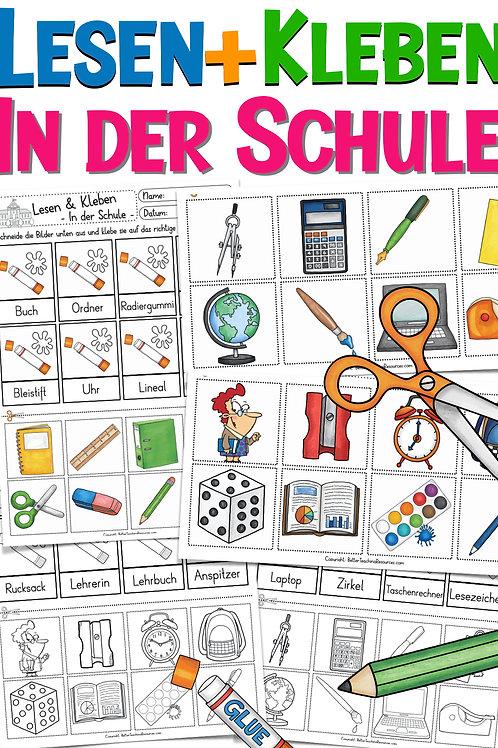 Lesen und Kleben: Schule / Schulsachen Deutsch / DAZ