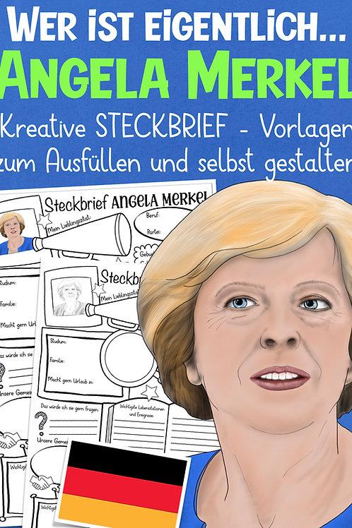 Angela Merkel Steckbrief / Arbeitsblatt für die Grundschule
