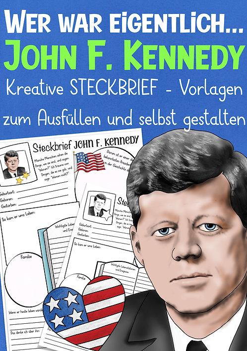 John F. Kennedy Steckbrief und Arbeitsblatt für den Geschichtsunterricht