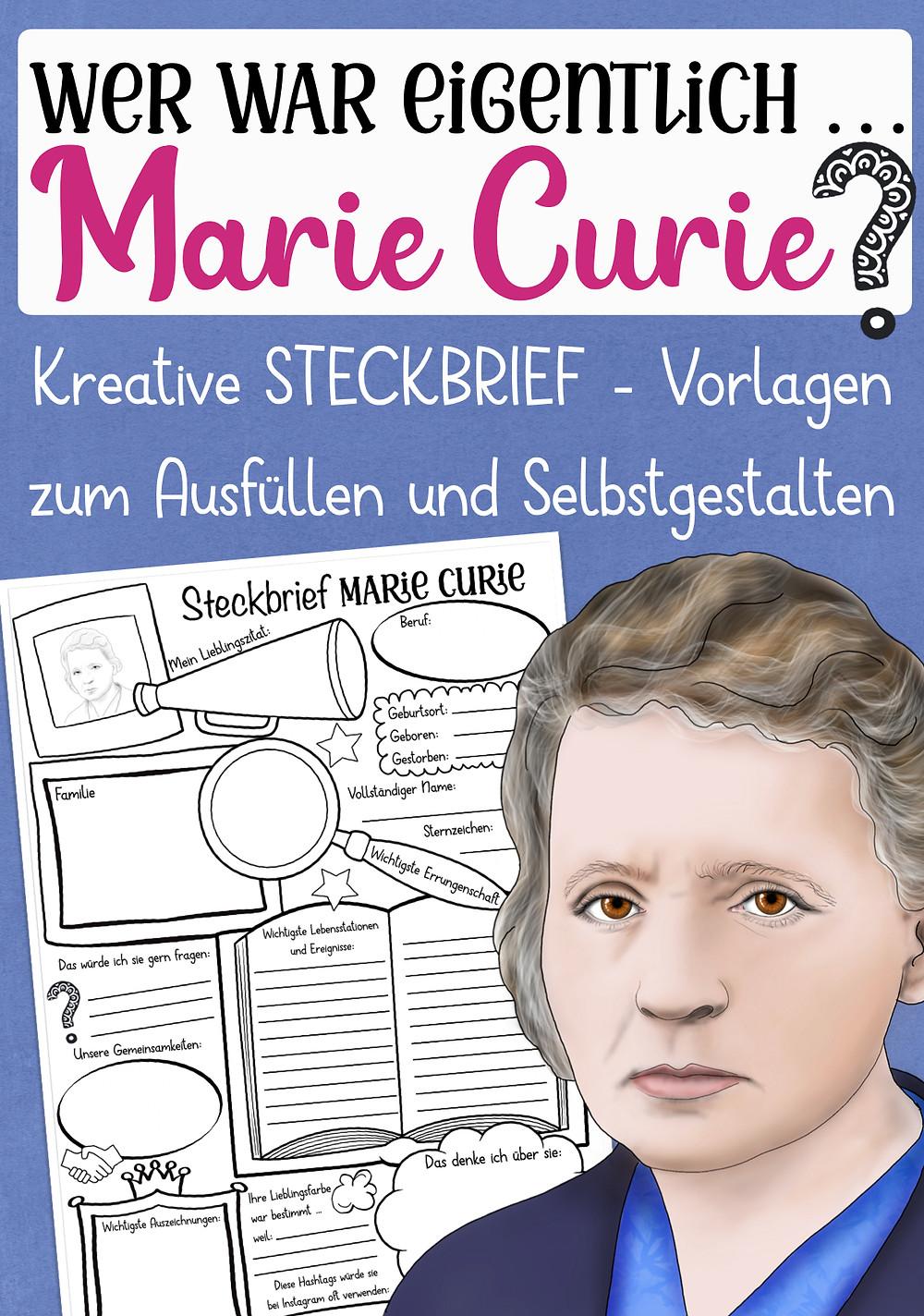 Marie Curie - Kostenlos Steckbrief für den Geschichtsunterricht und Physik in der Grundschule und Sekundarstufe