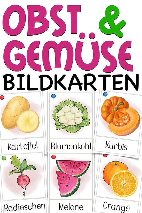 Bildkarten Obst und Gemüse für Deutsch und Sachunterricht in der Grundschule