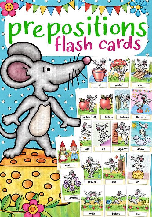 Bildkarten für den Englischunterricht Grundschule - prepositions Grammatik