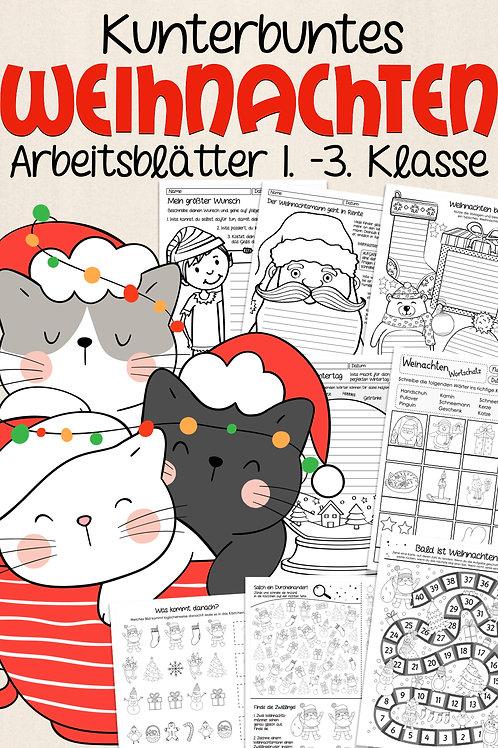 Kunterbunte Arbeitsblätter und Spiele für die Grundschule zum Thema Weihnachten