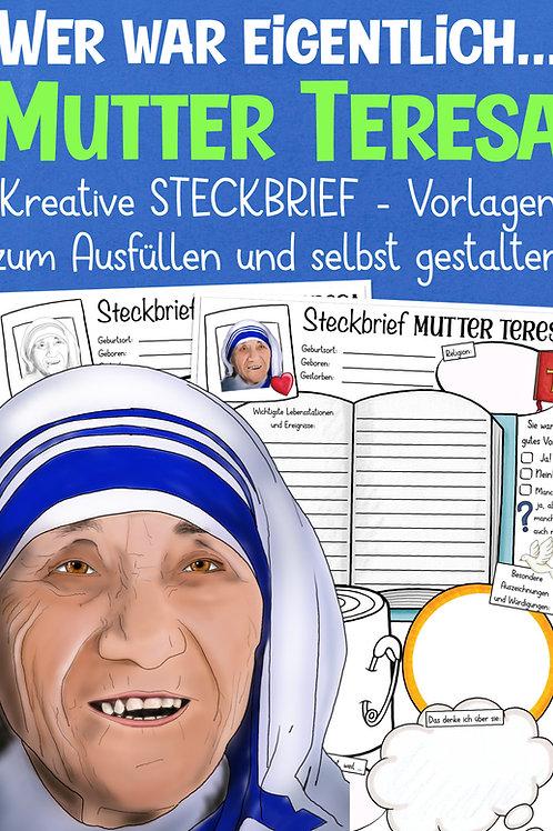 Steckbrief Mutter Teresa - Arbeitsblatt für den Religionsunterricht in der Grundschule