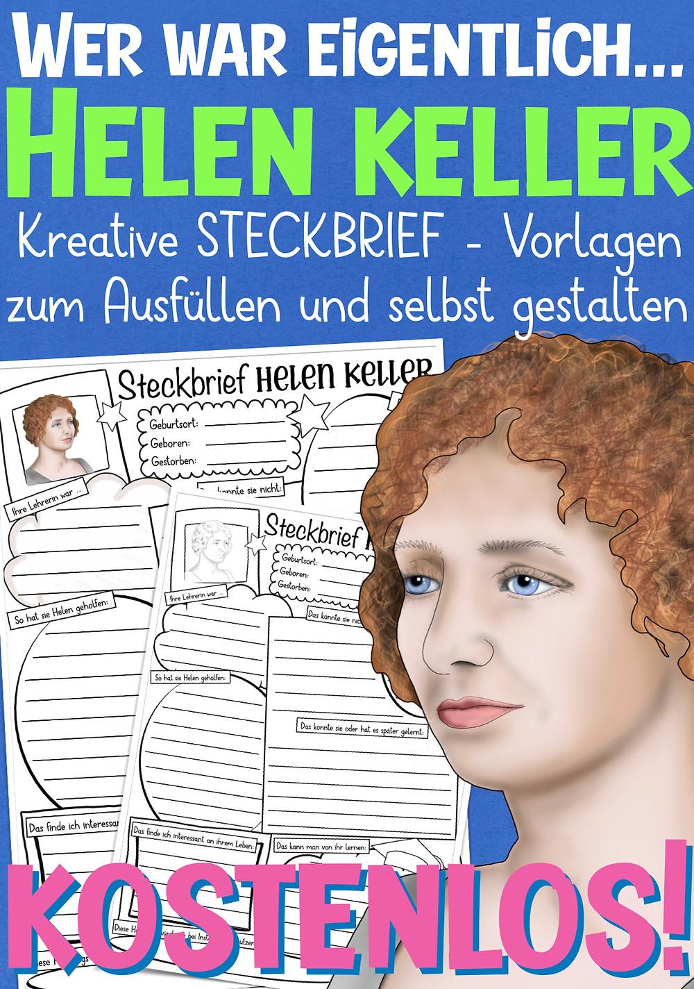 Helen Keller Steckbrief für die Grundschule - kostenlose Arbeitsblätter