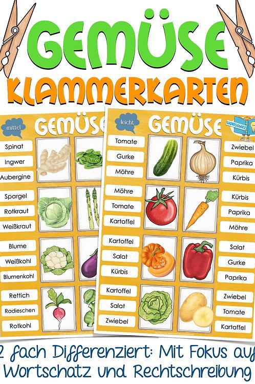 Gemüse Klammerkarten für den DAZ / Deutsch / Sachunterricht ind er Grundschule Unterrichtsmaterial