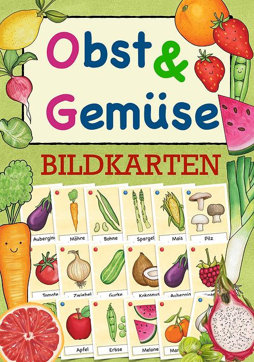 Bildkarten Obst und Gemüse für die Grundschule - Thema gesunde Ernährung / Sachunterricht