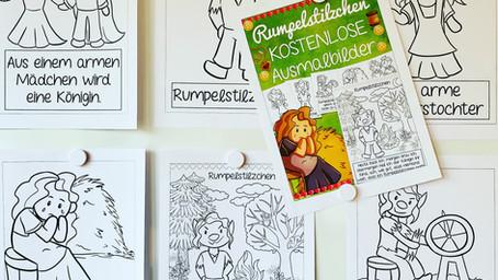 """Kostenlos! Ausmalblätter """"Rumpelstilzchen"""" für deine Grundschüler"""