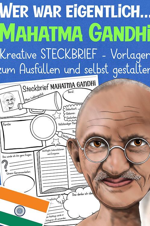 Arbeitsblatt Mahatma Gandhi für die Grundschule und Geschichtsunterricht