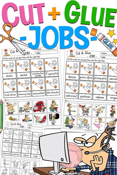 Lesen und Kleben im Englischunterricht - Cut & Glue Englisch Jobs