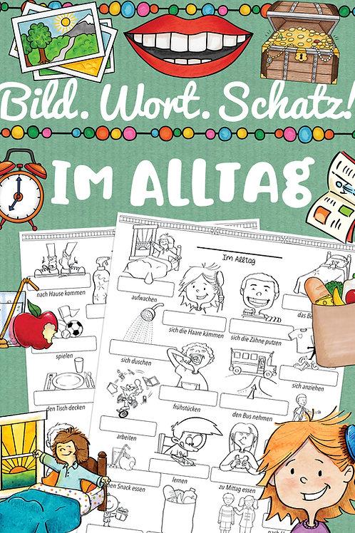 Bildwörterbuch - Tagesablauf - Wortschatz daily routines im Englischunterricht