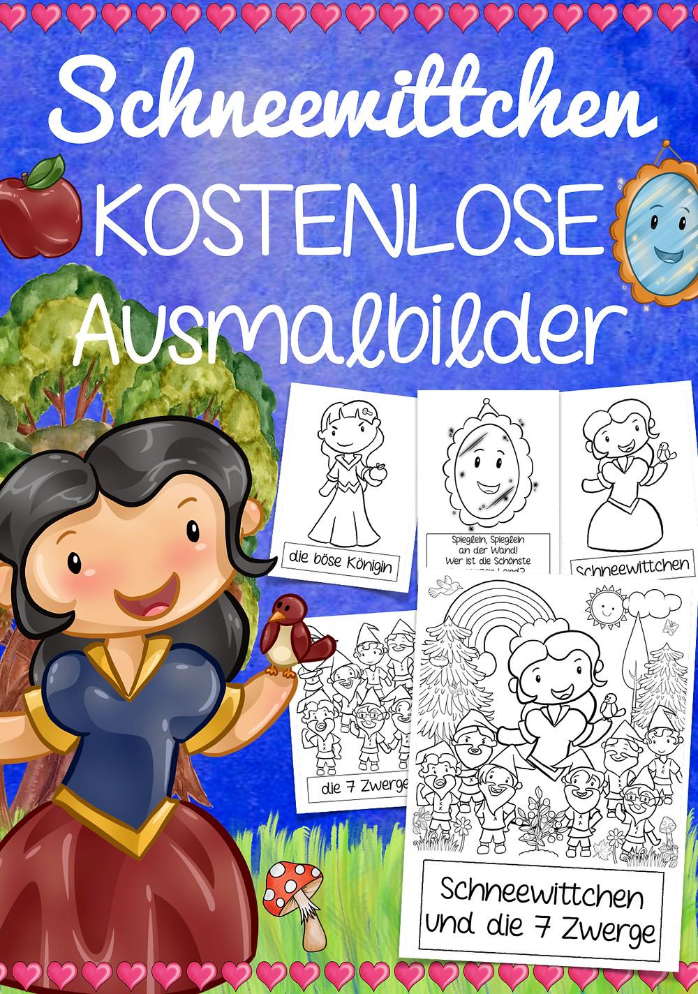 Schneewittchen Märchen Malvorlage kostenlos Grundschule