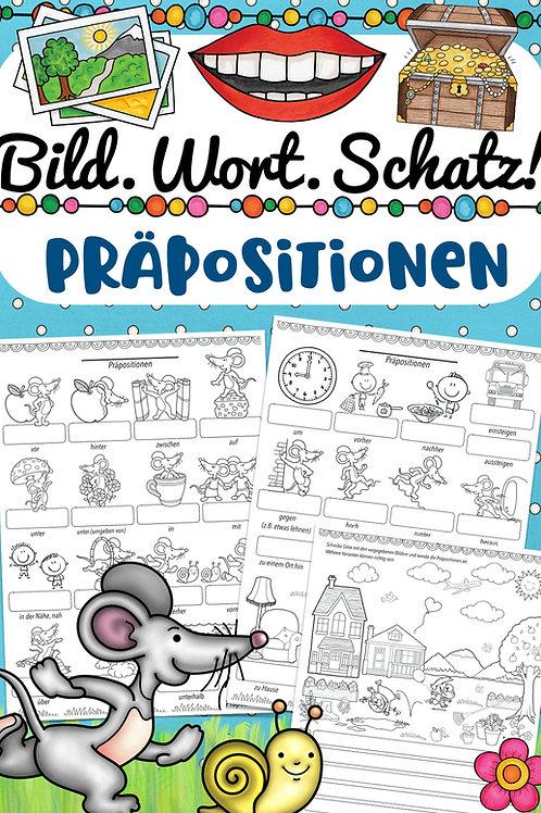 Bildwörterbuch Präpositionen für Englisch, Französisch, Spanisch und andere Fremdsprachen in der Grundschule