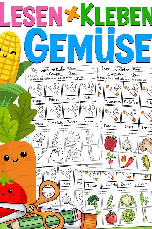 Lesen und Kleben: Gemüse (Deutsch / DAZ)