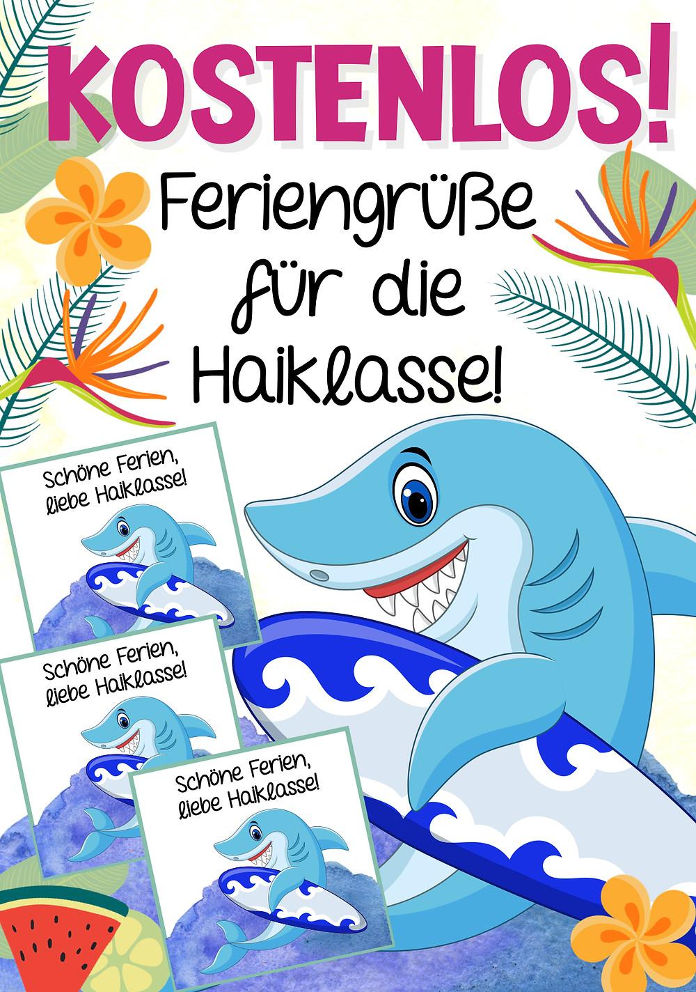 Feriengrüße Haiklasse kostenlos für die Grundschule