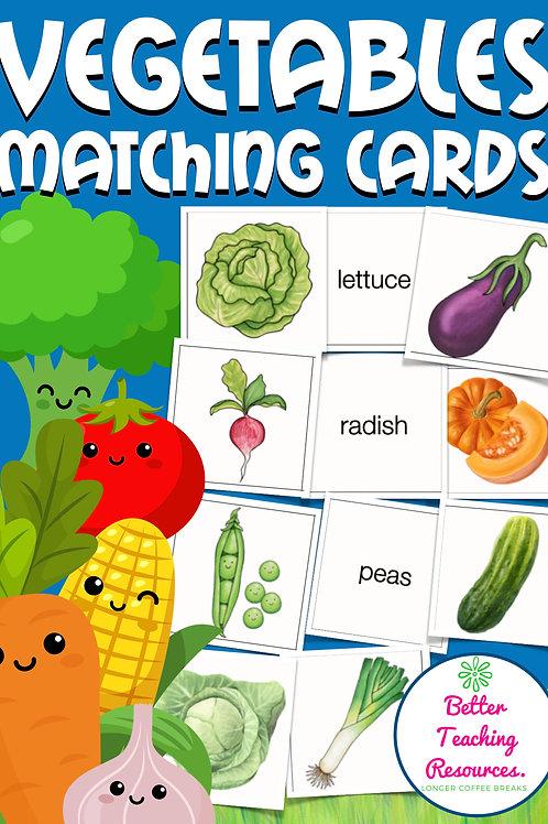 Memory®Spiel zum Thema Vegetables (food) für den Englischunterricht in der Grundschule