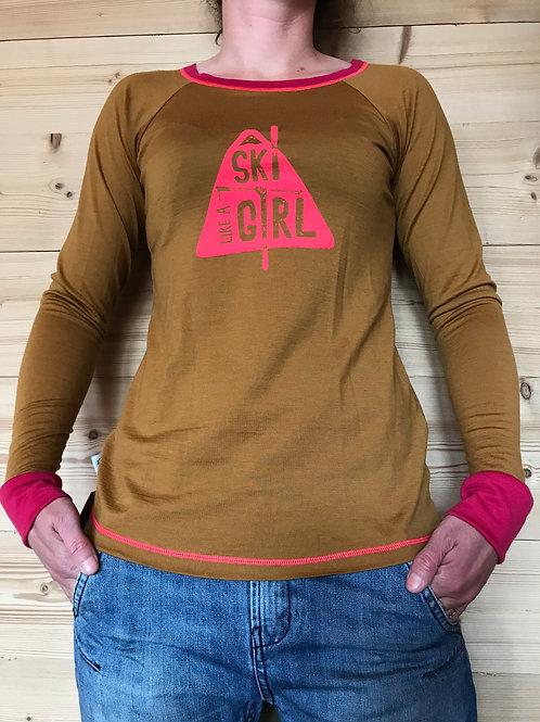"T-shirt Manches Longues Merinos ""Ski Like a Girl"" Femme"