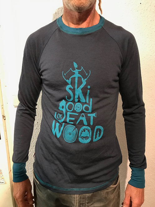 "T-shirt merinos homme ""ski good"""