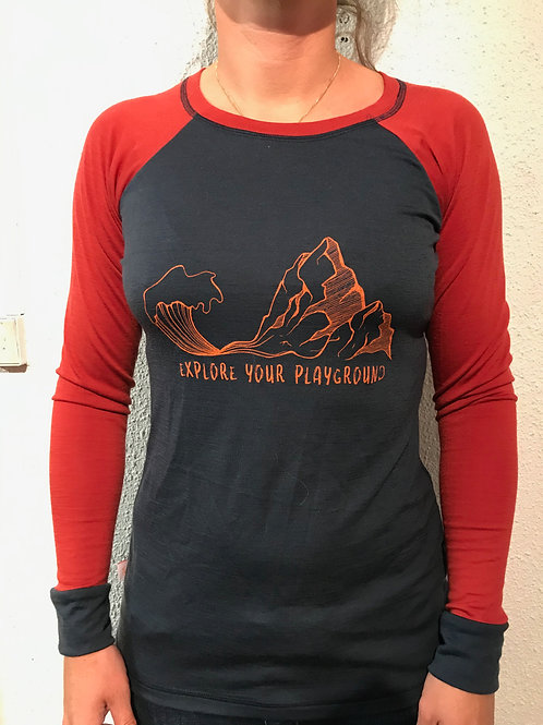 "T-shirt merinos femme ""Explore your playground"""