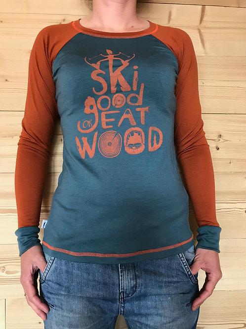 "T-shirt Manches Longues Merinos ""Ski Good"" Femme"