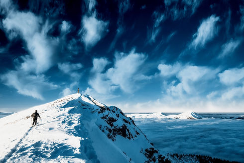 Winter view of the snow-capped mountain