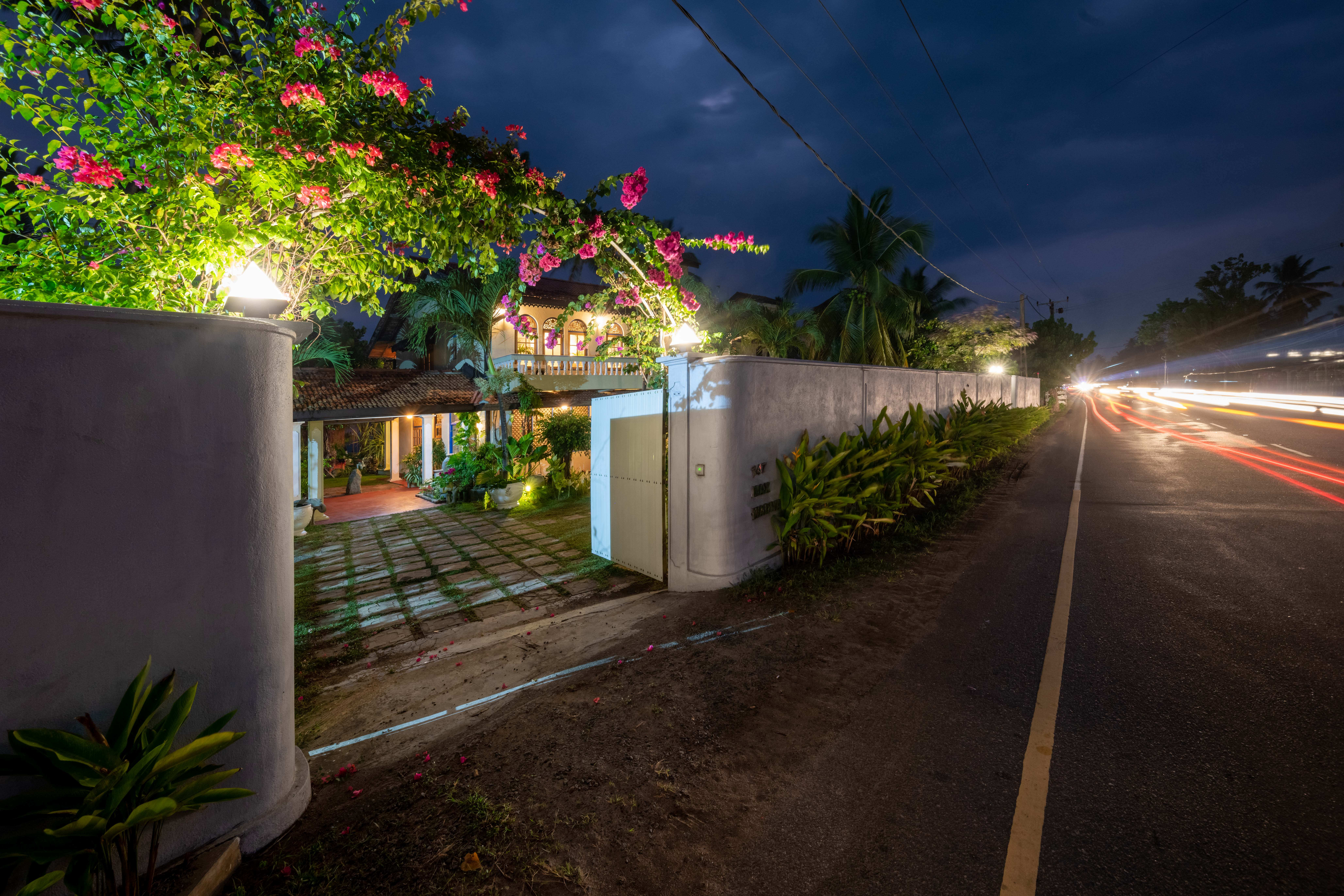 Beautiful Sri Lanka night garden view at the resort