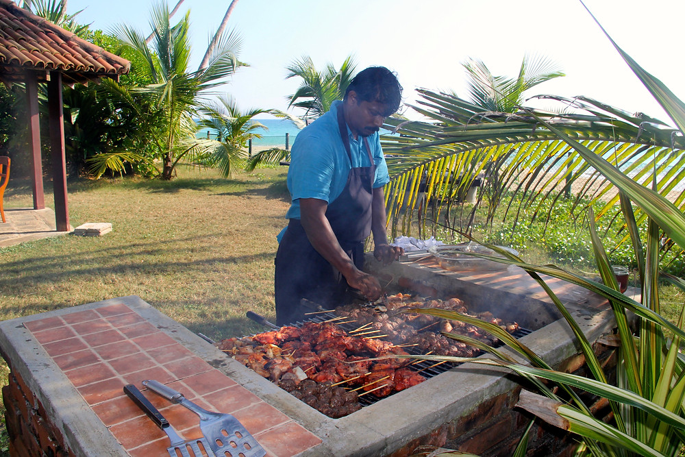 Beach dining at its best: a seafood BBQ
