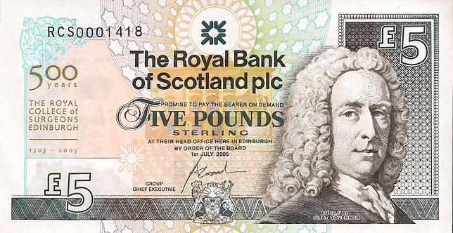 Scotland 2005, RBS, 5 pounds ,Commemorative 500 years, *RCS*, P-364