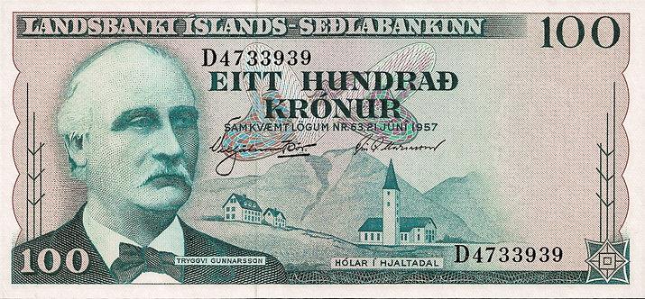Iceland 1957, 100 Kronur, *D*, P-40