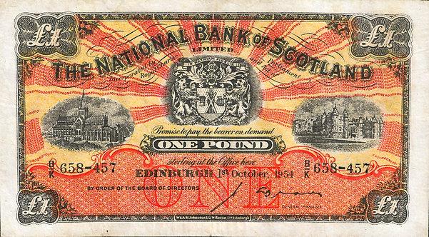 Scotland 1954, The National Bank of Scotland Limited, 1 Pound, *B/K*, P-258c