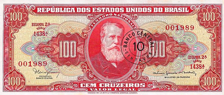 Brazil ND (1966 & 1967), 10 Centavos on 100 Cruzeiros, P-185b