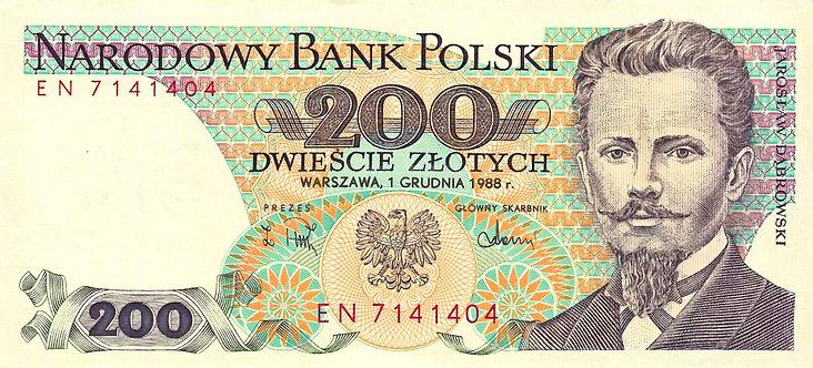 Poland 1988, Narodowy Bank Polski, 200 Zlotych, P-144c