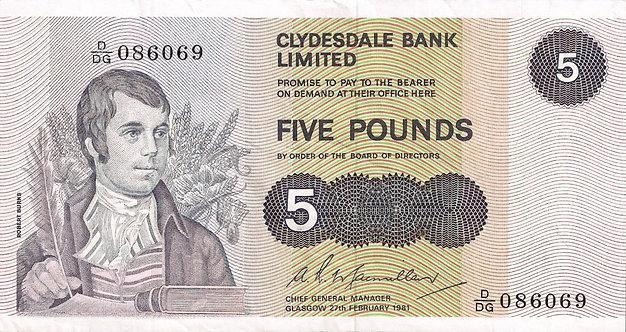 Scotland 1981, Clydesdale Bank, 5 Pounds, Macmillan, *D/DG*, P-205c