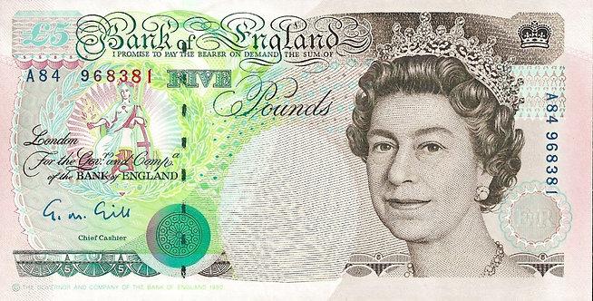 England 1990, 5 Pounds, Gill, *A84*, P-382a