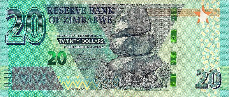 Zimbabwe 2020, Reserve Bank of Zimbabwe, 20 Dollars, *AA*, P-NEW