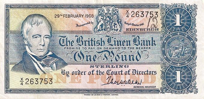 Scotland 1968, British Linen Bank, 1 Pound, *X/4*, P-169a
