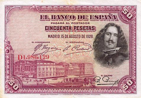 Spain 1928, Banco de España, 50 Pesetas, *D*, P-75b