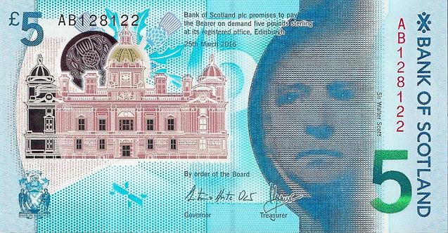 Scotland 2016, Bank of Scotland, 5 Pounds, Polymer, *AB*, P-130