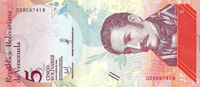 Venezuela 2018, Banco Central de Venezuela, 5 Bolivares, *D*,  P-102