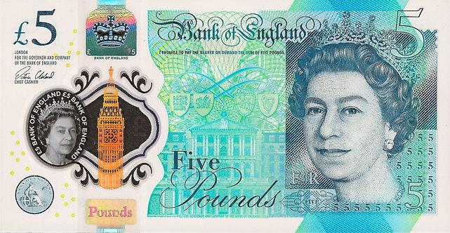 England 2016, 5 Pounds, *AA01* , V.Cleland, P-394