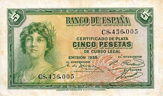 Spain 1935, Banco de España, 5 Pesetas,*C8*, P-85a(2)