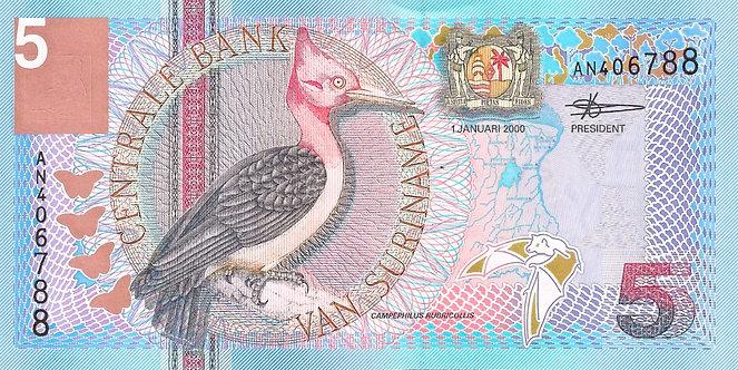 Suriname 2000, Centrale Bank van Suriname, 5 Gulden, *AN*, P-146