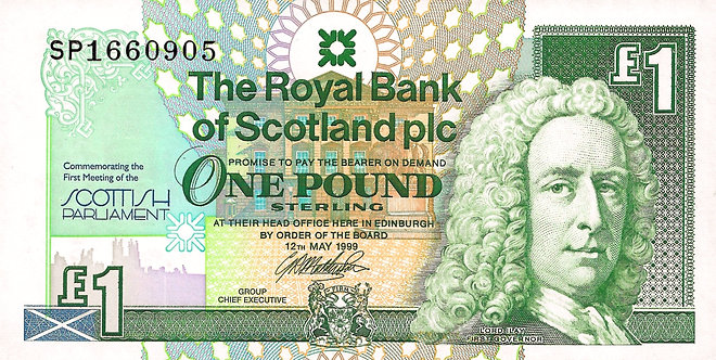Scotland 1999, RBS, 1 Pound, *SP* Commemorative, Scottish Parliament, P-360