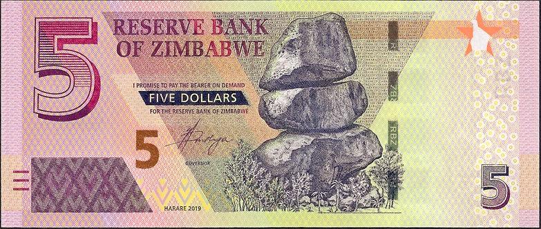 Zimbabwe 2019, Reserve Bank of Zimbabwe 5 Dollars, *AJ*, P-NEW